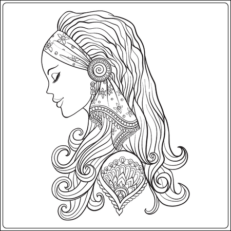 Young woman with long hair in medieval costume Portrait in profile. The decorative style. Stock line vector illustration. Coloring book for adult. Outline drawing coloring page. 일러스트