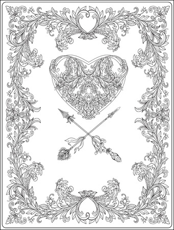 Decorative Love Heart with decorative arrows in rococo, victorian, renaissance, baroque, royal style. Greeting card for birthday, invitation or banner. Vector illustration. Coloring book for adult and older children. Outline drawing coloring page. Illustration