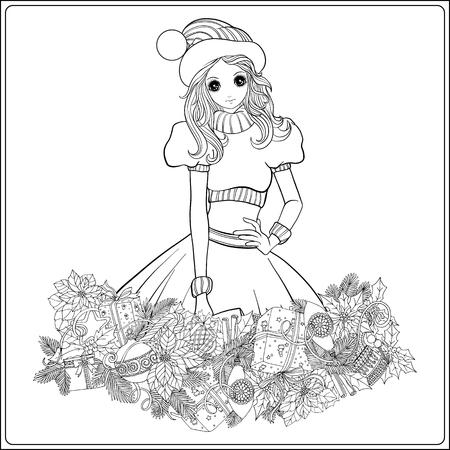 dessin au trait: Fille dans le chapeau du Père Noël costume et l'aide de Père Noël avec une guirlande de Noël de branches et de jouets de sapin. livre à colorier pour les adultes. Outline dessin de coloriage page.