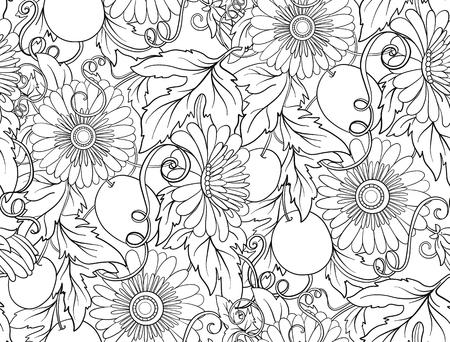 Passiflore seamless floral. Pasiiflora Flower background. seamless texture floral avec des fleurs. Motif floral avec des fleurs dessinées à la main. Dessin au trait