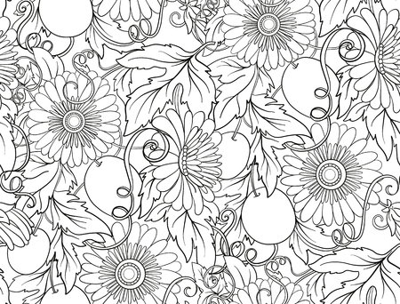 Passionflower floral seamless pattern. Pasiiflora Flower background. Floral seamless texture with flowers. Floral Pattern with hand-drawn flowers. Outline drawing