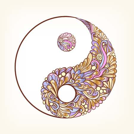 Symbol of yin and yang. This illustration can be used as a print on T-shirts, bags, tattoo, badges or patch Stock line vector illustration.