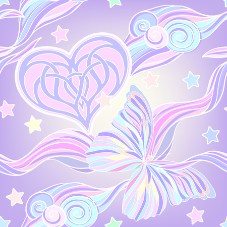 drapes: Seamless pattern with traditional Japanese motifs, butterflies, hearts in pastel and vanilla colors. Illustration