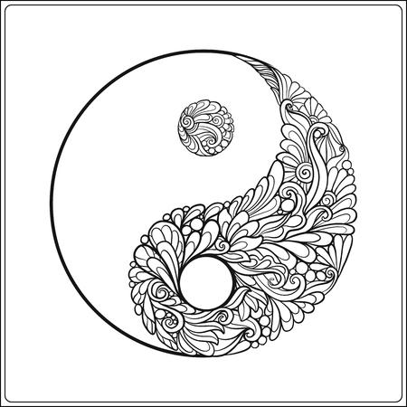 Symbole du yin et du yang. En or sur le noir livre fond de coloriage pour les adultes. Outline dessin de coloriage page