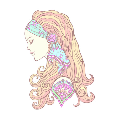 Young woman with long hair in medieval costume. Portrait in profile. The decorative style. Stock line vector illustration.