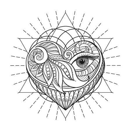 Vector ornamental Love Heart, sacred geometry, eye. Hand drawn illustration. Tattoo, astrology, alchemy, boho and magic symbol.  イラスト・ベクター素材