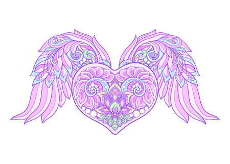 Decorative patterned Love Heart with angel wings. Stock line vector illustration.