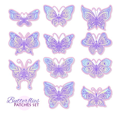 decorate notebook: Set of butterflies fashion patch, badges, stripes, stickers. This illustration can be used as a print on T-shirts, bags, tattoo, badges or patch Illustration