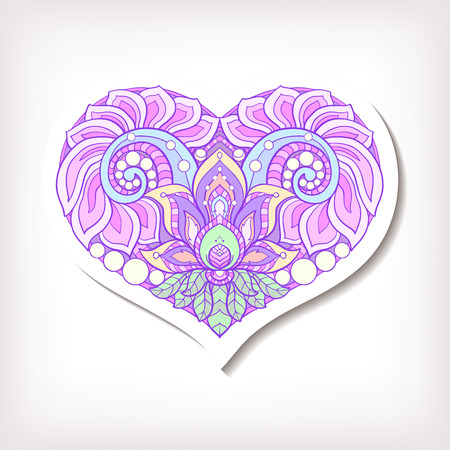 decorate notebook: Fashion patch badges with decorative patterned colored love heart. Stock line vector illustration.