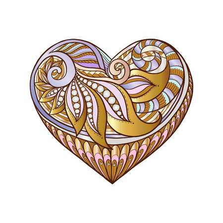 decorate notebook: Decorative patterned colored gold Love Heart. Stock line vector illustration.