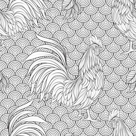 dessin au trait: Seamless avec Coq décoratif. Nouvel An chinois Symbole de 2017 Nouvel An. Vector illustration. Dessin au trait.