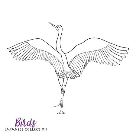 decorate notebook: Japanese crane. Coloring book for adult. Outline drawing coloring page. Stock line vector illustration.