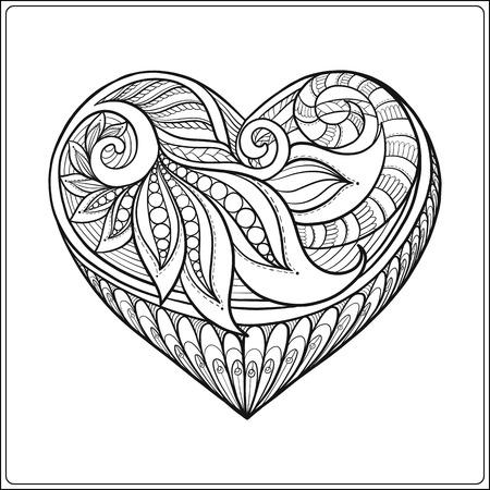 Dekorative Muster-Liebe-Herz Mit Engelsflügeln. Auf Linie Vektor ...