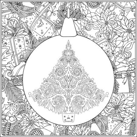 Libro Para Colorear O Página, Ilustración. Árbol De Navidad Con ...