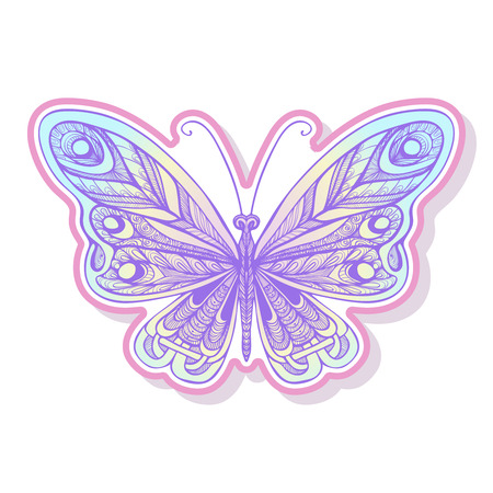 decorate notebook: Butterfly fashion patch, badges, stripes, stickers. This illustration can be used as a print on T-shirts, bags, tattoo, badges or patch