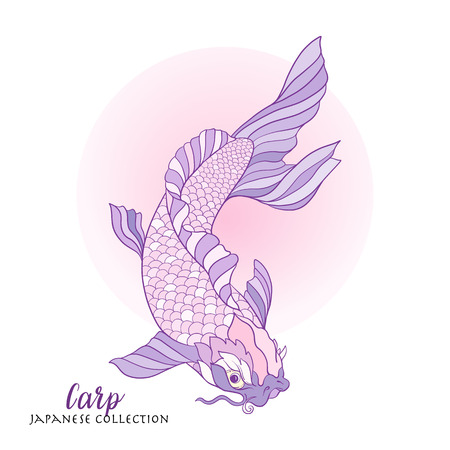 decorate notebook: Japanese carp. Stock line vector illustration. This illustration can be used as a print on T-shirts, bags, tattoo, badges or patch