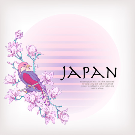 decorate notebook: Card or label with Japanese magnolia pattern and decorative bird in pastel colors. Stock line vector illustration. This illustration can be used as a print on T-shirts, bags, tattoo, badges or patch