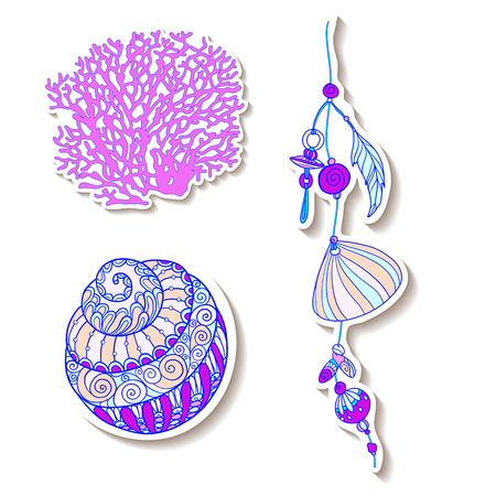 Fashion patch set, badges with fish, shells, corals. This illustration can be used as a print on T-shirts, bags, tattoo, badges or patch. Stock line vector illustration. Ilustração