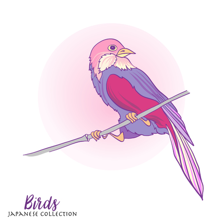 decorate notebook: Japanese birds. Stock line vector illustration. This illustration can be used as a print on T-shirts, bags, tattoo, badges or patch Illustration
