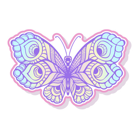 Butterfly fashion patch, badges, stripes, stickers. This illustration can be used as a print on T-shirts, bags, tattoo, badges or patch