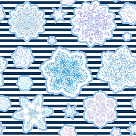patches: Fashion patches with snowflakes. Seamless pattern.