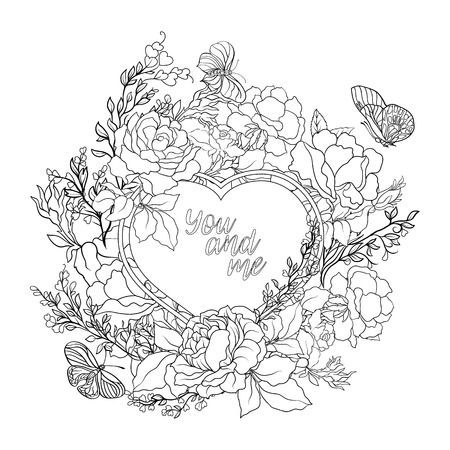 rose bouquet: Rose flower background with space for text. Outline drawing coloring page. Coloring book for adult.