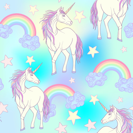 Seamless pattern with Unicorn with color pink purple mane and rainbow and stars. Stock line vector illustration. Imagens - 68061327