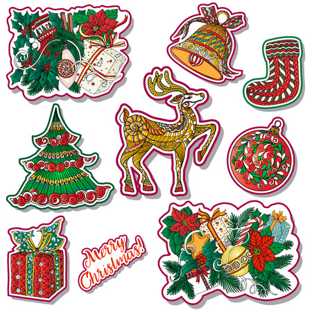 christmas tattoo: fashion patches with Christmas symbols: deer, bell, ball, fir-tree, wreath, toys, socks. This illustration can be used as a print on T-shirts, bags, tattoo, badges or patch