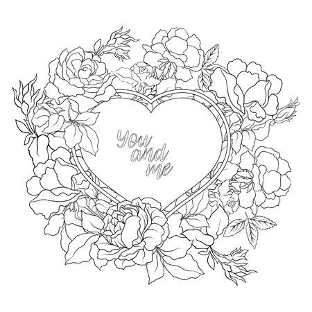 dessin au trait: Rose fleur de fond avec l'espace pour le texte. Outline dessin de coloriage page. livre à colorier pour les adultes. Illustration