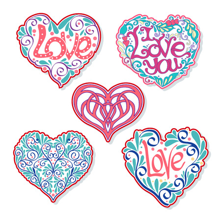 Set of Love Heart fashion patch, badges, stripes, stickers. This illustration can be used as a print on T-shirts, bags, tattoo, badges or patch Illustration