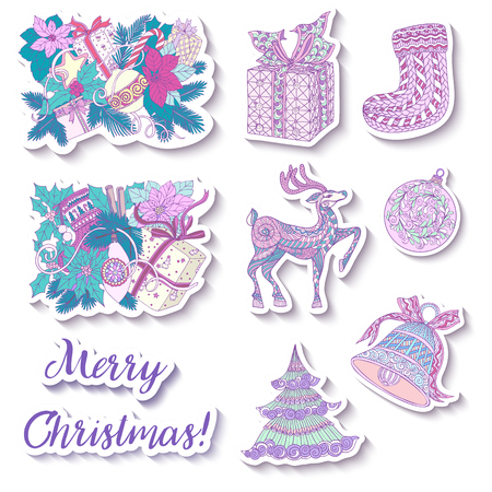 decorate notebook: fashion patches with Christmas symbols: deer, bell, ball, fir-tree, wreath, toys, socks. This illustration can be used as a print on T-shirts, bags, tattoo, badges or patch