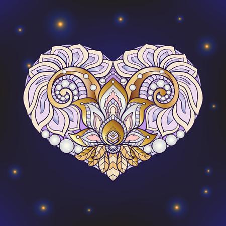 decorate notebook: Decorative patterned colored gold Love Heart on black background. Stock line vector illustration. Illustration