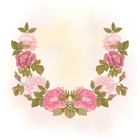 Neck line embroidery designs with rose floral pattern. Vector illustration.