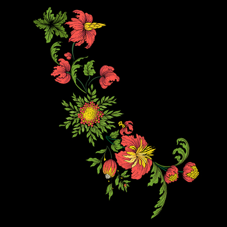 Embroidery for the collar line. Floral ornament in vintage style on a black background. Illustration