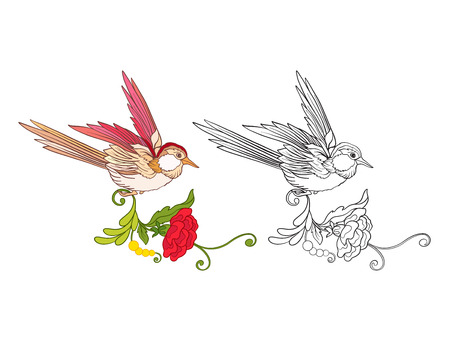 Flowers and swallow. Set of colored sample and outline drawing. Ilustracja