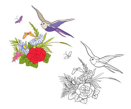 Set of outline and colored vintage flowers bouquet or pattern.