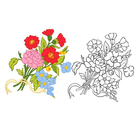 アウトラインや色のヴィンテージ花花束パターンのセットです。  イラスト・ベクター素材