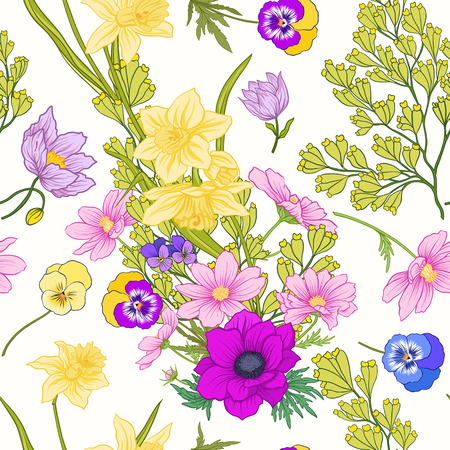 Seamless pattern with poppy flowers, daffodils, anemones, violet