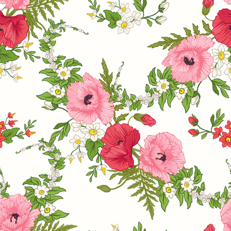 pattern: Seamless pattern with poppy flowers, daffodils, anemones, violet