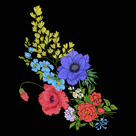 Embroidery vintage flowers bouquet of poppy, daffodil, anemone, Illustration