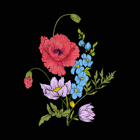 Embroidery vintage flowers bouquet of poppy, daffodil, anemone, violet in botanical style on black background. Stock vector illustration. Illustration