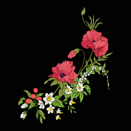 Embroidery vintage flowers bouquet of poppy, daffodil, anemone, Ilustrace