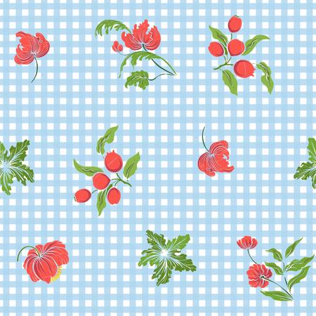 ビンテージ刺繍花のシームレス パターン  イラスト・ベクター素材