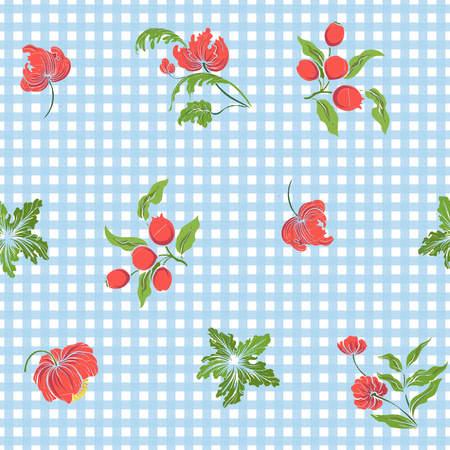 Seamless pattern with vintage embroidered flowers