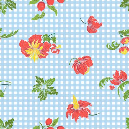pattern: Seamless pattern with vintage embroidered flowers