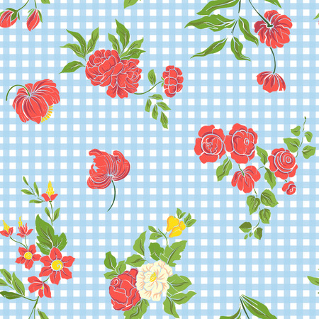 morris: Seamless pattern with vintage embroidered flowers