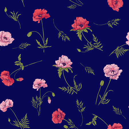 Seamless pattern with pink and red poppy flowers in botanical st
