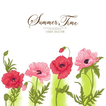 Scheda di tempo estiva con papavero rosso e rosa su acquerello verde bac Archivio Fotografico - 79638782