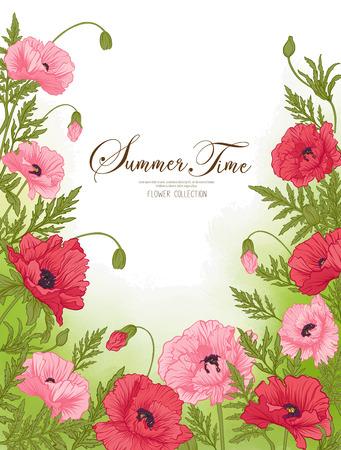 夏タイム カード赤と緑の水彩背景ピンクのポピー。ストック ライン ベクトル イラスト。