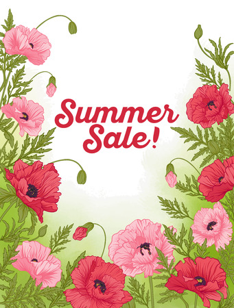 Summer sale card with red and pink poppy on green watercolor bac Çizim